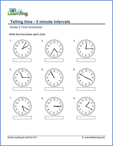 grade 2 telling time worksheets free amp printable k5
