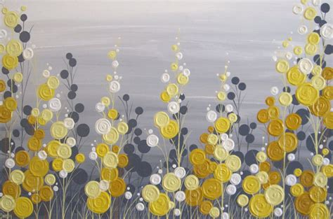 yellow grey yellow and grey textured flower art acrylic painting on