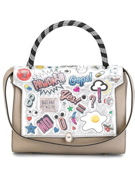 Anya Hindmarch Need Bags by Lyst Anya Hindmarch Bathurst Printed Stickers Tote In Gray