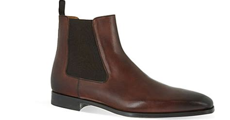 saks fifth avenue leather chelsea boots in brown for