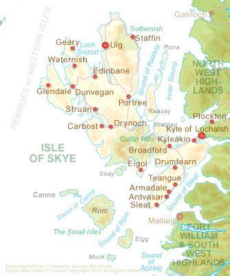printable map skye accommodation skye guides