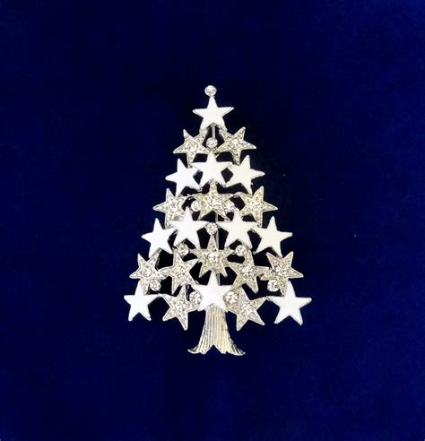 50 on sale white christmas tree pin silver christmas tree