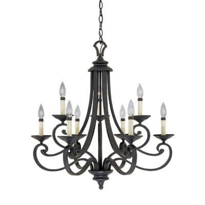 Nine Light Chandelier Designers Monte Carlo 9 Light Hanging Iron Chandelier 9039 Ni The Home Depot