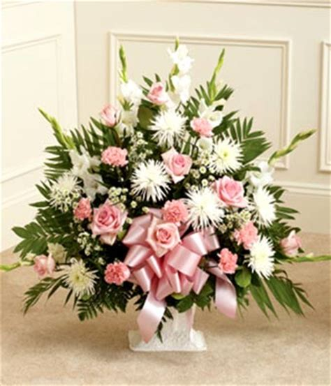 pink flower floor l pink white sympathy floor basket at from you flowers