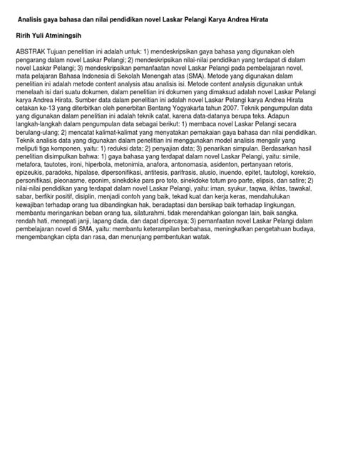 Abstrak Analisis Gaya Bahasa Dan Nilai Pendidikan Novel