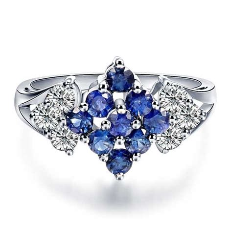 sapphire and engagement ring on 18k white gold