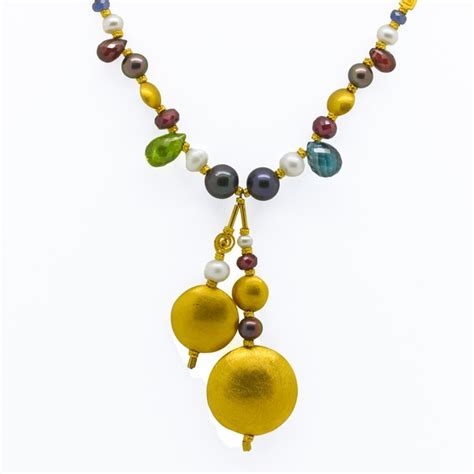 22k gold necklace with multicolor gems pearls reliable