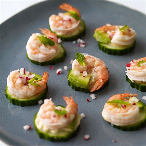 Shrimp Avocado and Cucumber Appetizers