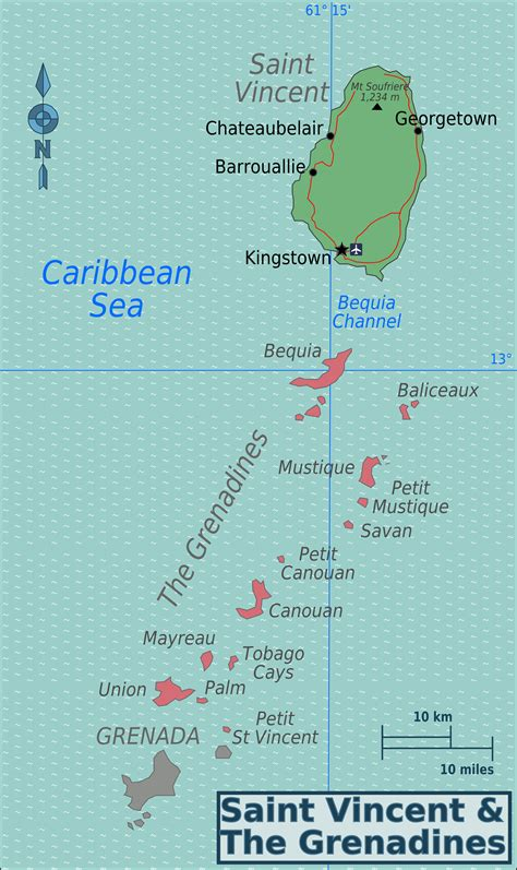 st vincent grenadines map vincent and the grenadines travel guide wikitravel