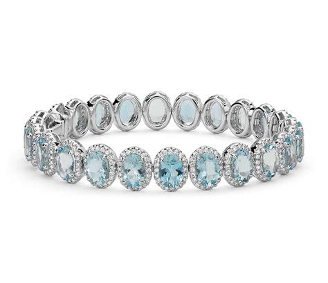 aquamarine and halo bracelet in 18k white gold