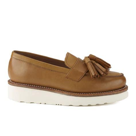 platform loafers womens grenson s clara v leather platform tassel loafers