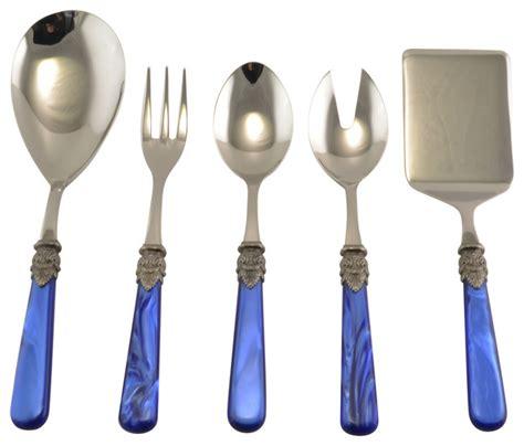 modern flatware sets napoleon 5 piece hostess set blue modern flatware and