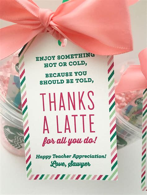 Thanks A Latte Starbucks Gift Card Template by Thanks A Latte Appreciation Gift Idea With Free