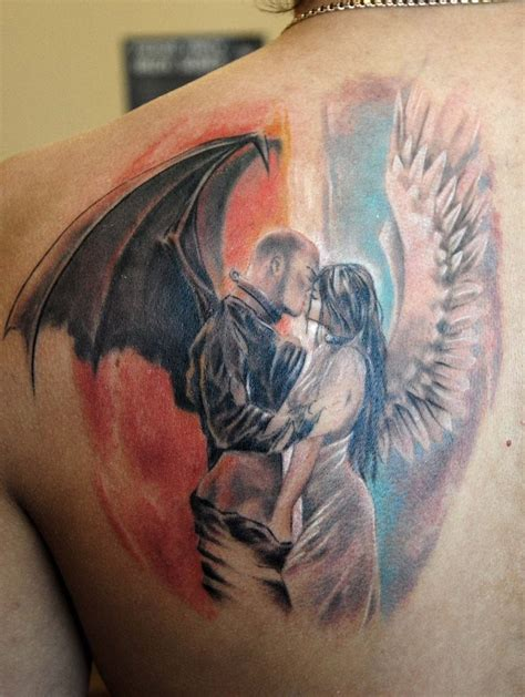 angel and demon tattoo design 20 great and designs entertainmentmesh