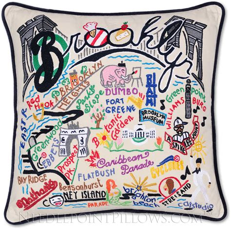 New York Embroidered Pillow by Catstudio Handmade New York Embroidered Pillow