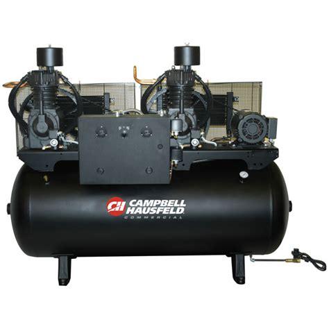 15hp 230v 1ph two stage duplex air compressor 120 gal cbell hausfeld ce72