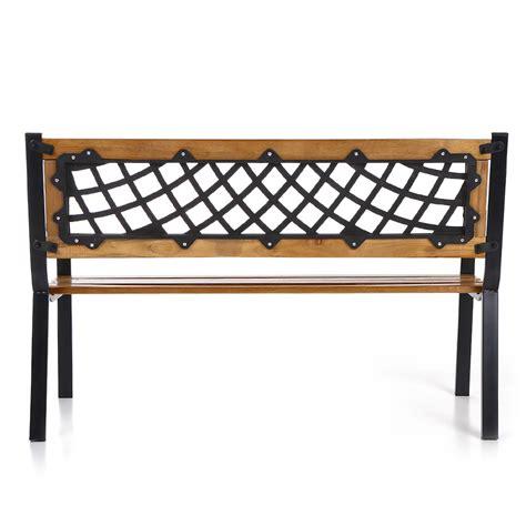 steel and wood bench ikayaa 46 5 quot wood steel outdoor garden bench lovdock com