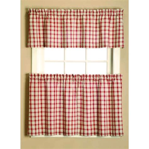 Checkered Kitchen Curtains Country Curtain Valance Farm House Barn Striped Country Look Cherry Gingham Check