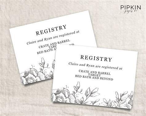 Bridal Registry Template Card by Wedding Registry Card Wedding Info Card Registry