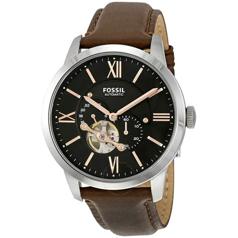 Fossil Black Brown Leather fossil townsman mechanical black brown leather s me3061 townsman fossil