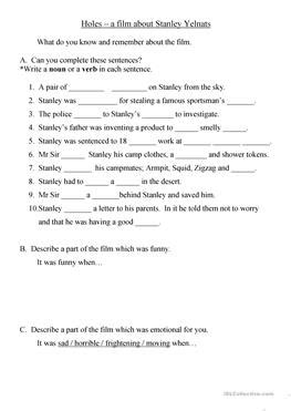 Holes Worksheets by 12 Free Esl Worksheets
