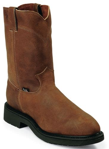 justin double comfort boots justin double comfort aged bark steel toe pull on 10 quot work
