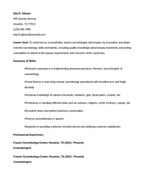cosmetology resume exles for students 6 sle cosmetology resumes sle templates