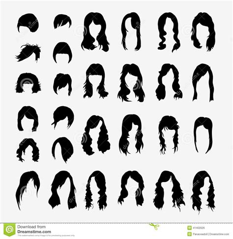 Vector Set Of Women's Hairstyles Stock Vector   Illustration of hairstyling, hairstyle: 41402026