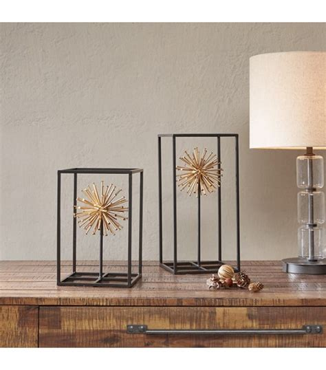 cage table top golden sunburst in metal cage table top decor