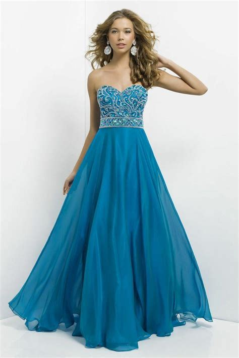long chiffon formal evening ball gown prom dress bridesmaid party new blue beaded long chiffon pageant evening dresses