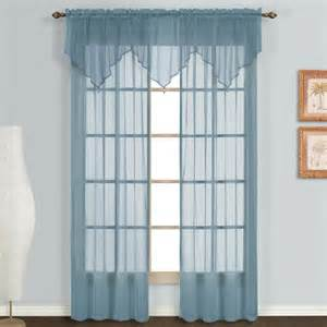 Sheer Valance Curtains United Curtain Monte Carlo Sheer Ascot Valance 40 By 22 Inch Slate Blue New Ebay