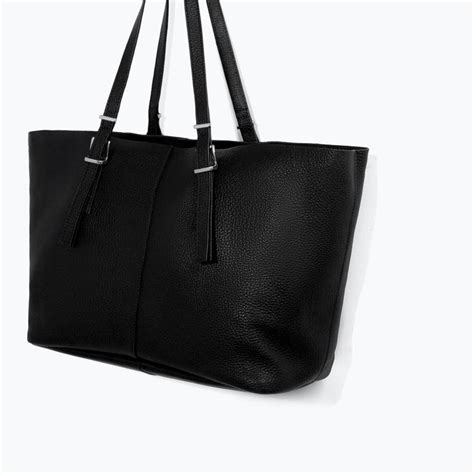 Zara Kabas Bag In Bag Ori zara femme sac cabas en cuir et toile b a g s shopper bag zara and leather