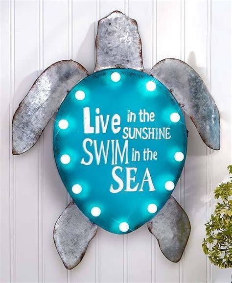 Sea Turtle Bedroom Decor by Lighted Turtle Metal Coastal Wall Sign Sculpture Sea