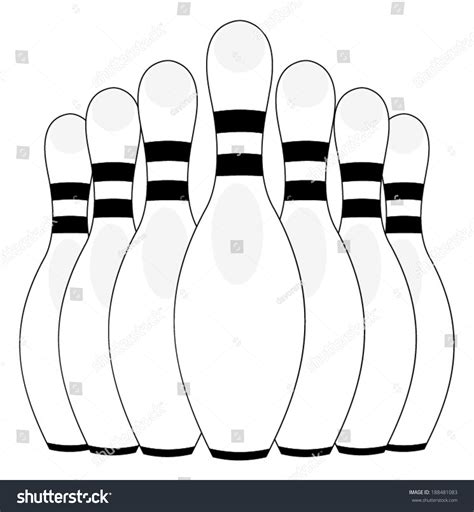 End Of Outline by Bowling Pins End Bowling Alley Stock Vector 188481083