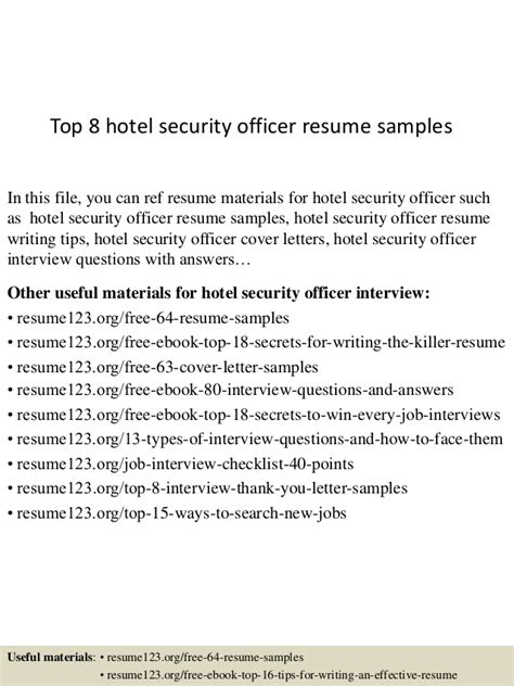 sle resume for hotel security officer top 8 hotel security officer resume sles