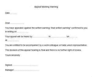 Appeal Letter Template For Written Warning 23 Hr Warning Letters Free Sle Exle Format Free Premium Templates
