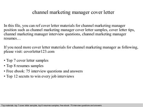 Channel Marketing Manager Cover Letter channel marketing manager cover letter