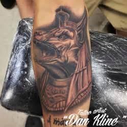 kline family ink anubis black and grey portrait tattoo