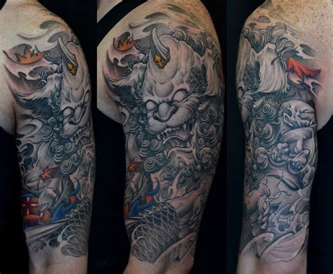 half sleeve foo dog and koi fish tattoo chronic ink