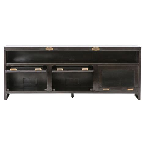 metal media storage cabinet fitz industrial loft dark brown 3 cabinet metal media