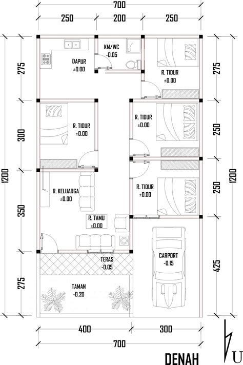 freelance drafter design lay out rumah uk 7x 12 cm
