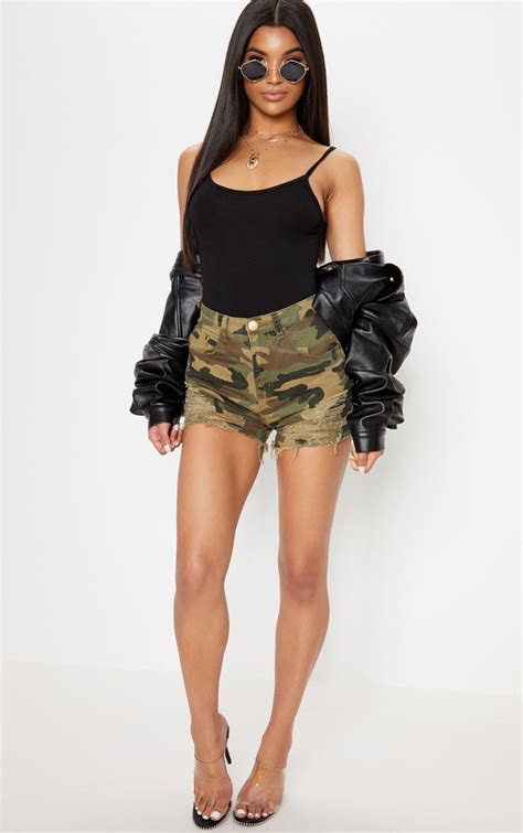 jeanie green camo extreme ripped denim short