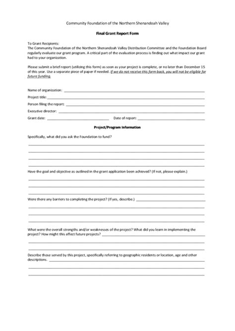 Community Foundation Of The Northern Shenandoah Valley Final Grant Report Form Printable Pdf Grant Report Template