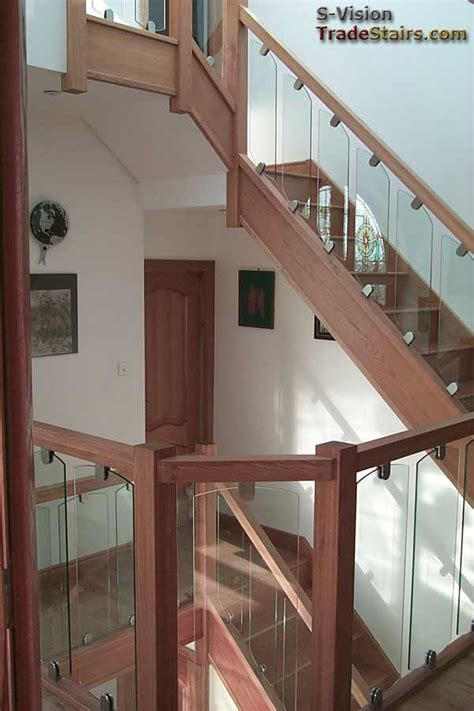 glass stair banister glass balustrading oak handrail with glass toughened glass
