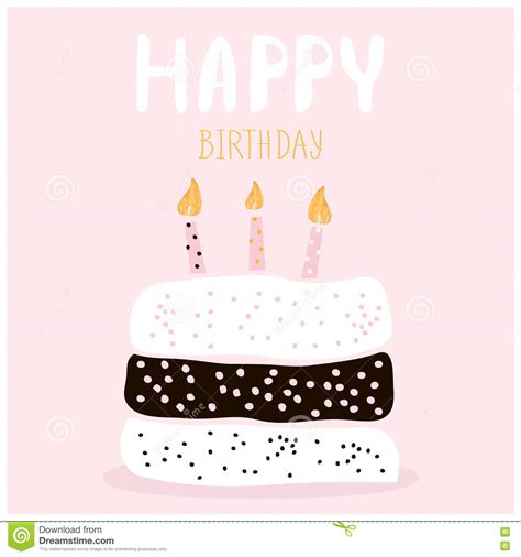 kawaii birthday card template cake with happy birthday wish greeting card template