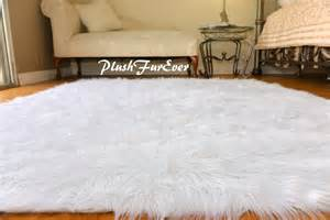 White Fur Area Rug 4th Of July Decor White Blue Independence Day Rectangle