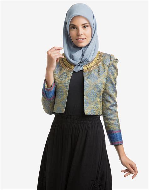 Pusat Baju Wanita Kekinian Top dian pelangi edgy coat tenun songket payet blue