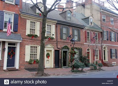 buy a house in philadelphia colonial houses in philadelphia pennsylvania with christmas stock photo royalty free