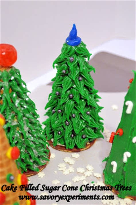 cake filled sugar cone christmas trees savory experiments