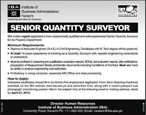 iba karachi requires senior quantity surveyor in karachi